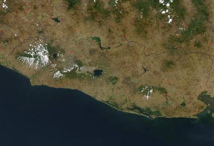 maps of el salvador. El Salvador from Space.