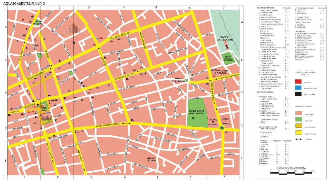 Aguascalientes Downtown City Map Mexico