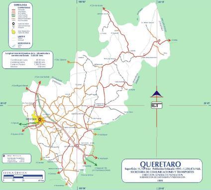 mexico map quiz. queretaro mexico road map