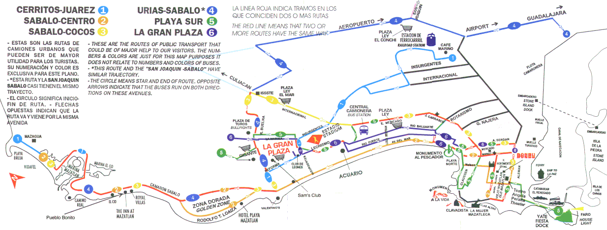 Map, bus routes in Mazatlan, Sinaloa, Mexico