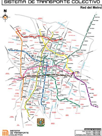 Mapa del Métro de Mexico DF