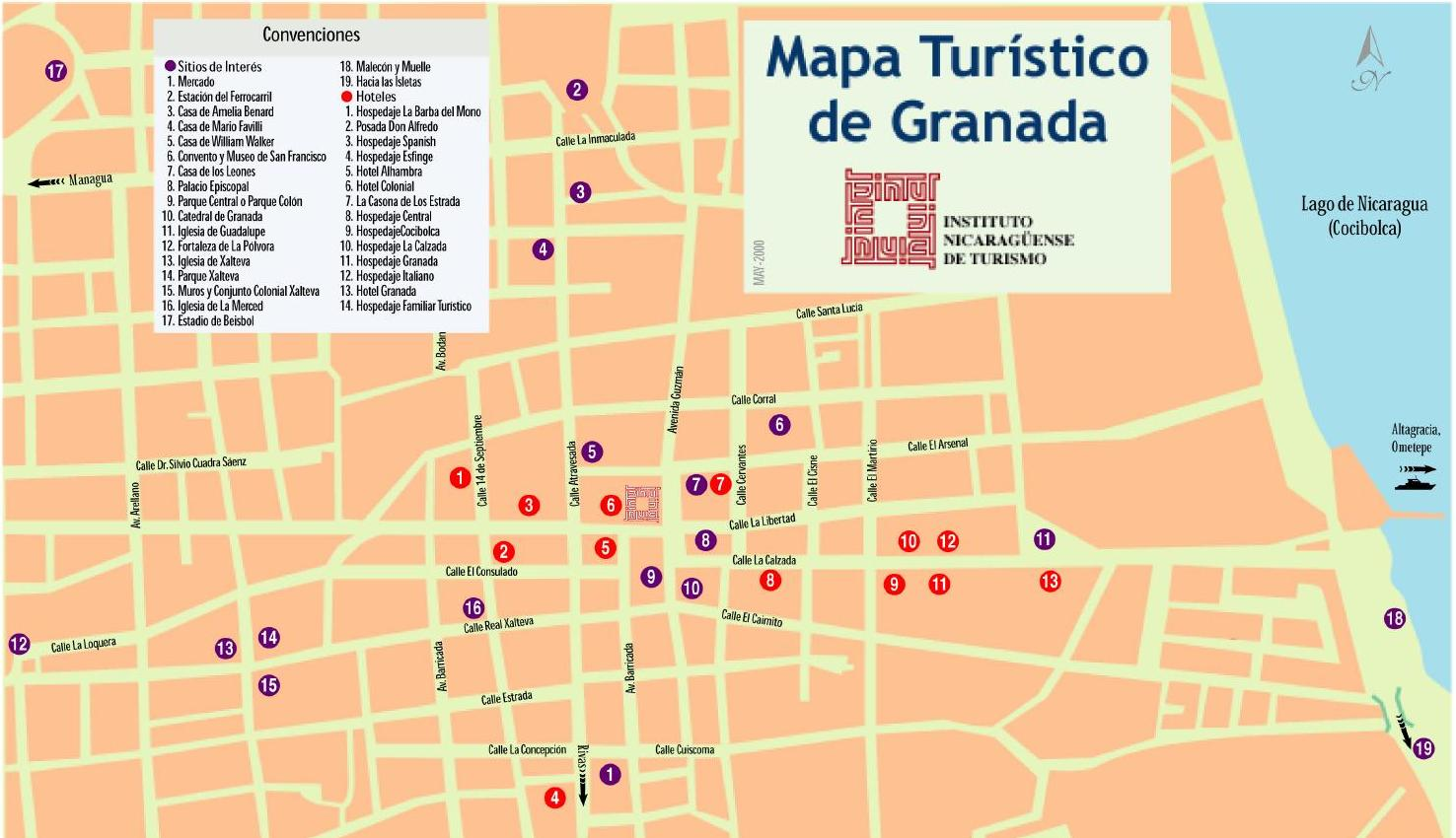 Granada Nicaragua Tourist Map – Nicaragua Tourist Attractions Map