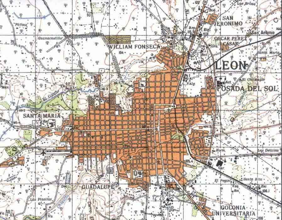 Mapa de la Ciudad de Leon España Mapa Topográfico de la Ciudad