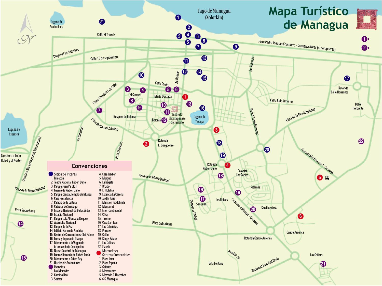 Managua Tourist Map, Nicaragua