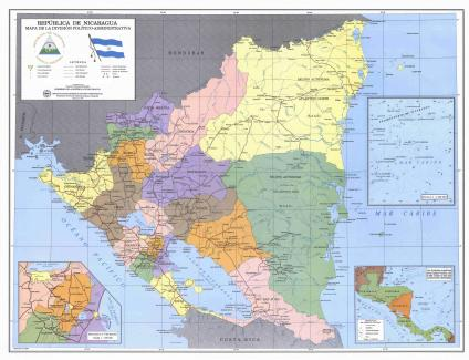 Mapa División Politico Administrativa de Nicaragua 1997