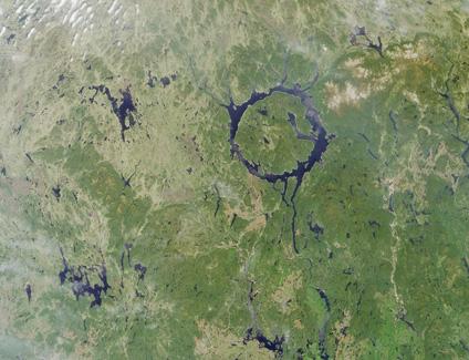 Photo, Image et Carte Satellite du Lac Manicouagan, Nord du Québec