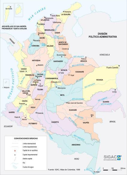 Mapa Politico de la Gran Colombia Mapa Político de Colombia